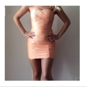 H&M peach cream strapless Dress